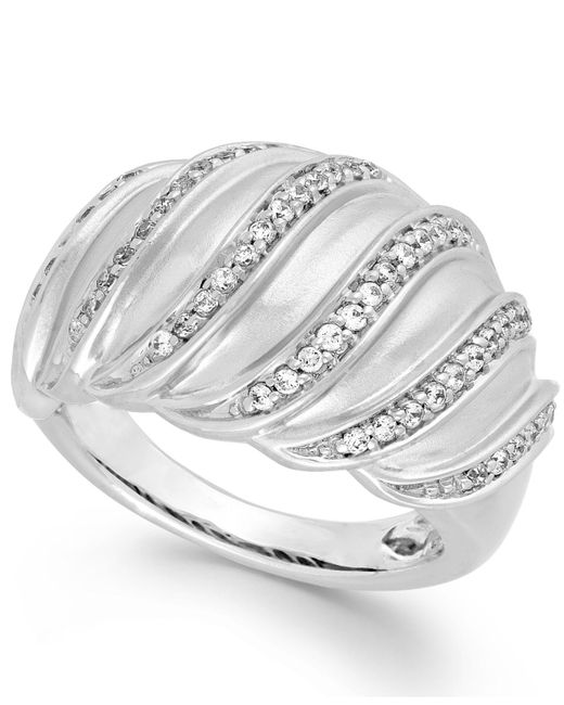 Macy's | Metallic Diamond Swirl Ring In Sterling Silver (1/4 Ct. T.w.) | Lyst