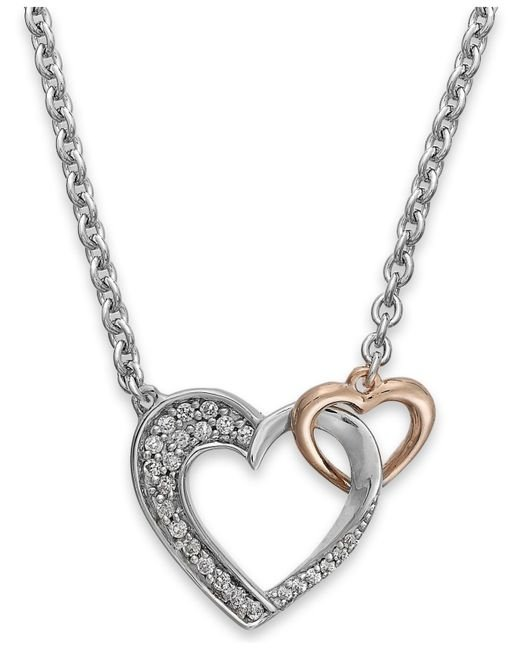 Macy's | Metallic Diamond Double Heart Pendant In Sterling Silver And 14k Rose Gold (1/5 Ct. T.w.) | Lyst