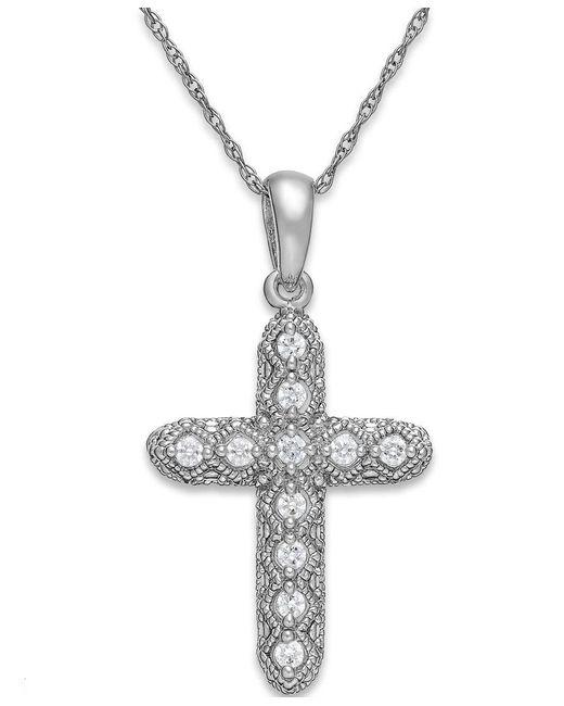 Macy's | Multicolor Diamond Cross Pendant Necklace In 14k White Gold (1/8 Ct. T.w.) | Lyst