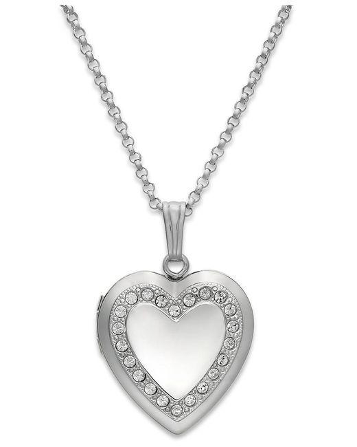 Macy's | Metallic Crystal Heart Locket Necklace In Sterling Silver | Lyst