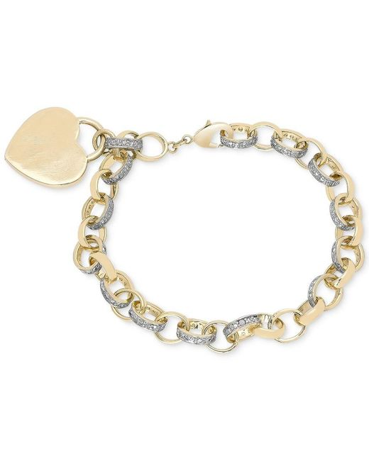 Macy's | Metallic Diamond Accent Heart Tag Chain Bracelet In 18k Yellow And Rose Gold Over Sterling Silver-plated Brass | Lyst