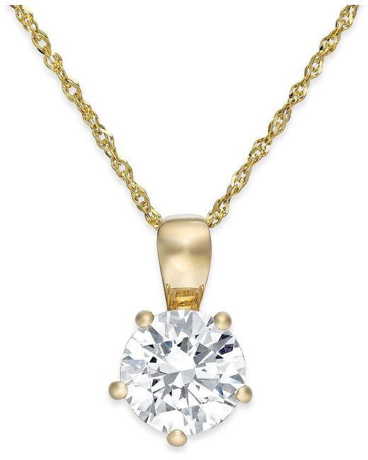 Arabella | Metallic Swarovski Zirconia Solitaire Pendant Necklace In 14k Gold (2 Ct. T.w.) | Lyst