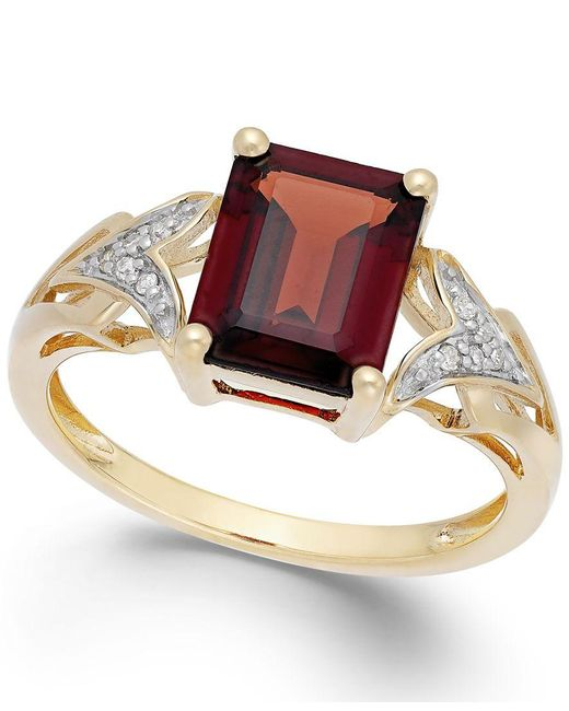 Macy's | Metallic Garnet (2-1/2 Ct. T.w.) And Diamond Accent Ring In 14k Gold | Lyst