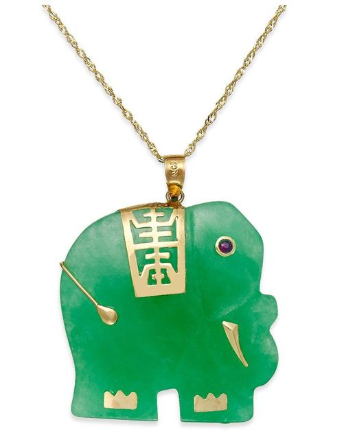 Macy's | Metallic Dyed Jade Elephant Pendant Necklace In 14k Gold (25mm) | Lyst