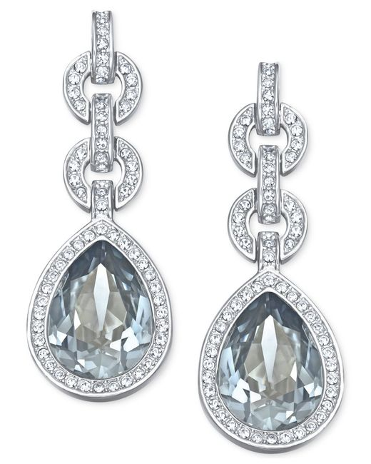 Swarovski | Blue Rhodium-tone Adore Drop Earrings | Lyst