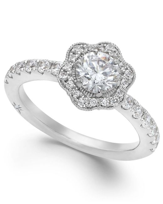 Marchesa | Fleur By Certified Diamond Flower Engagement Ring In 18k White Gold (1-1/4 Ct. T.w.) | Lyst