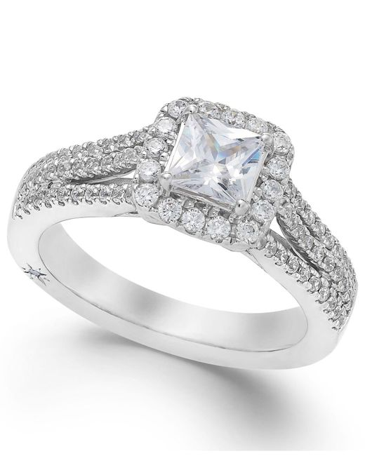 Marchesa | Certified Diamond Split Shank Engagement Ring In 18k White Gold (1-1/5 Ct. T.w.) | Lyst