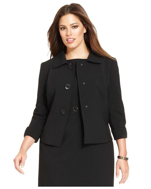 Tahari   Black Plus Size Three-button Three-quarter-sleeve Jacket   Lyst