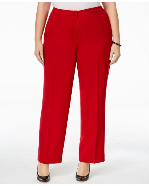 Kasper | Red Plus Size Straight-leg Crepe Pants | Lyst