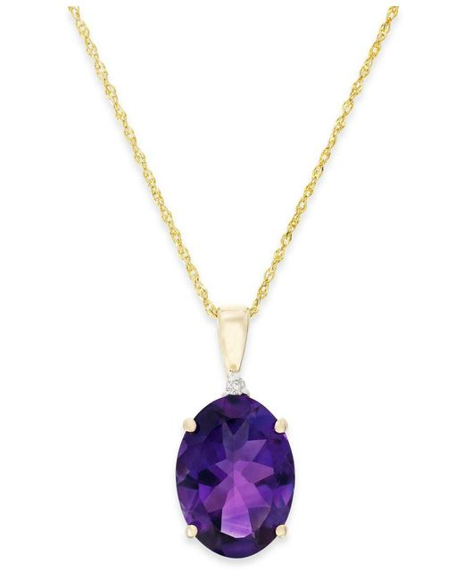 Macy's   Metallic Amethyst (5 Ct. T.w.) And Diamond Accent Pendant Necklace In 14k Gold   Lyst