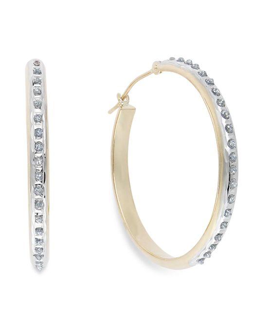 Macy's | Blue Diamond Accent Hoop Earrings In 14k Gold | Lyst