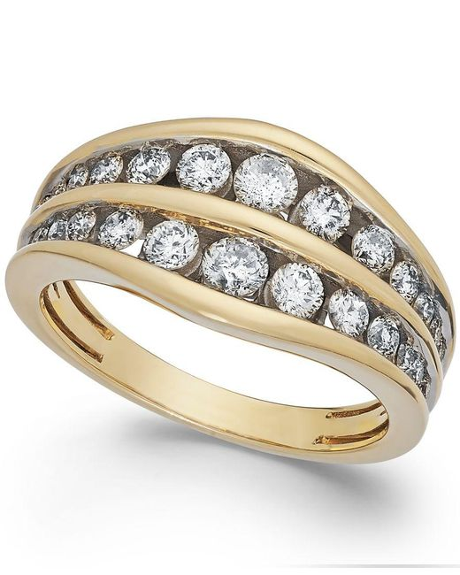 Macy's | Metallic Diamond Two-row Ring In 14k Gold (1 Ct. T.w.) | Lyst