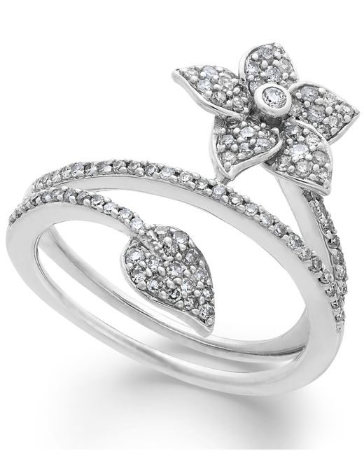 Macy's | Metallic Diamond Wrap-around Flower Ring In Sterling Silver (1/2 Ct. T.w.) | Lyst