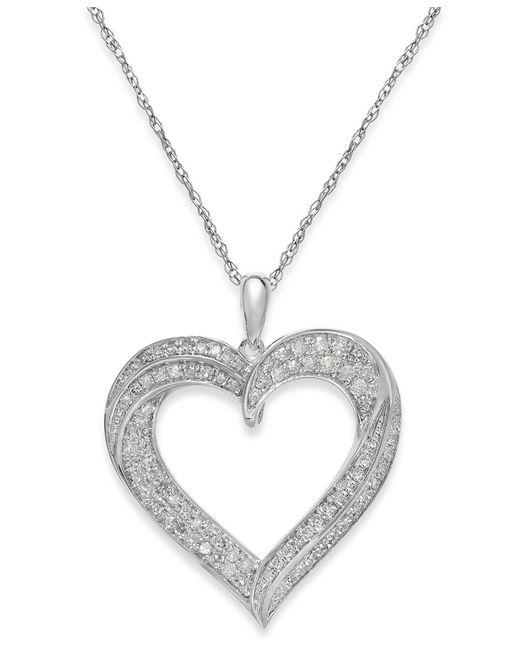 Macy's   Metallic Diamond Heart Pendant Necklace In Sterling Silver (1/3 Ct. T.w.)   Lyst