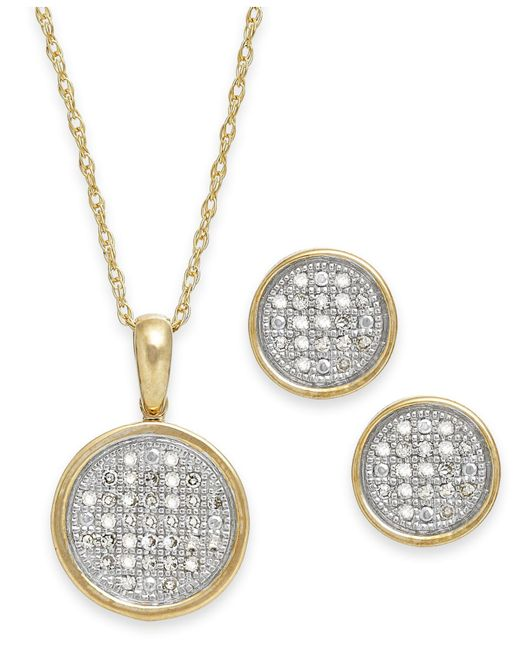 Macy's   Metallic Diamond Disc Jewelry Set In 10k Gold (1/5 Ct. T.w.)   Lyst