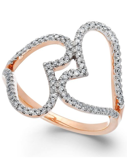 Macy's | Metallic Diamond Double Heart Ring In 14k Rose Gold (1/3 Ct. T.w.) | Lyst