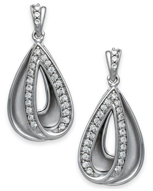 Macy's | Metallic Diamond Teardrop Earrings In Sterling Silver (1/4 Ct. T.w.) | Lyst