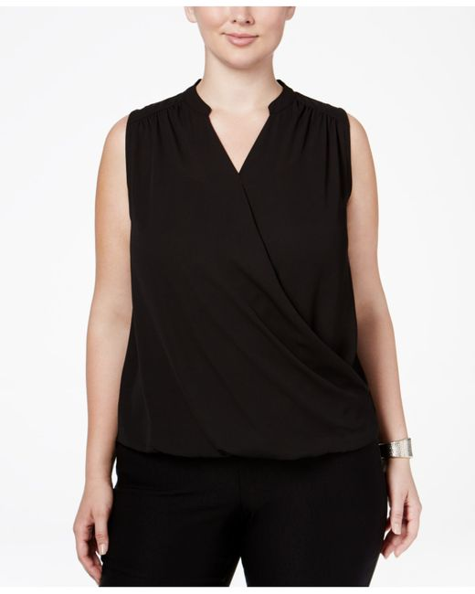 INC International Concepts | Black Plus Size Sleeveless Surplice Top | Lyst