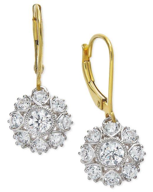 Marchesa | Yellow Certified Diamond Two-tone Snowflake Drop Earrings In 18k Gold (1-1/6 Ct. T.w.) | Lyst