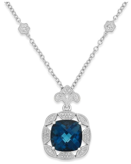 Macy's | London Blue Topaz (7 Ct. T.w.) And Diamond (1/7 Ct. T.w.) Pendant Necklace In Sterling Silver | Lyst