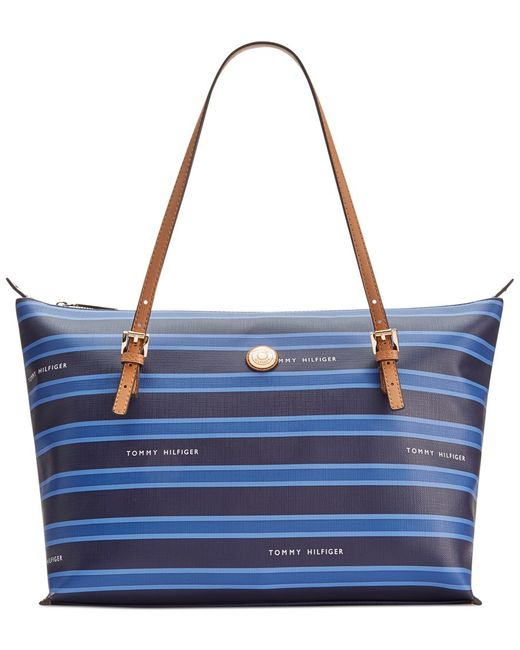 Tommy Hilfiger | Blue Th Stripe Large Convertible Tote | Lyst