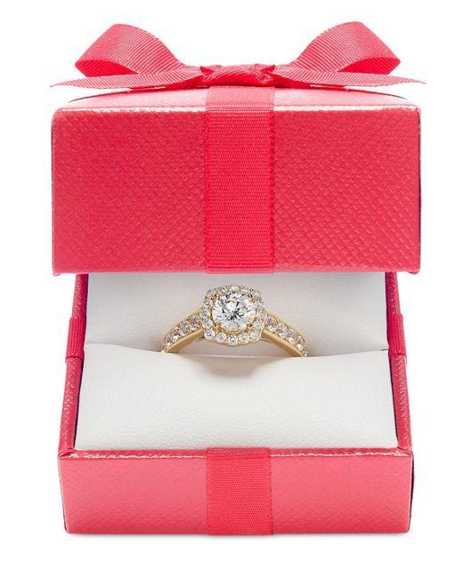 Macy's | Metallic Diamond Halo Ring In 14k White Gold (1-1/2 Ct. T.w.) | Lyst