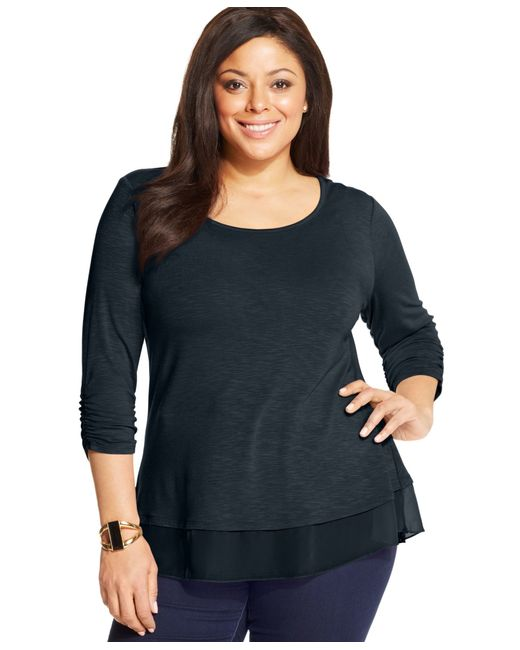 Style & Co. | Blue Plus Size Chiffon-hem Top, Only At Macy's | Lyst