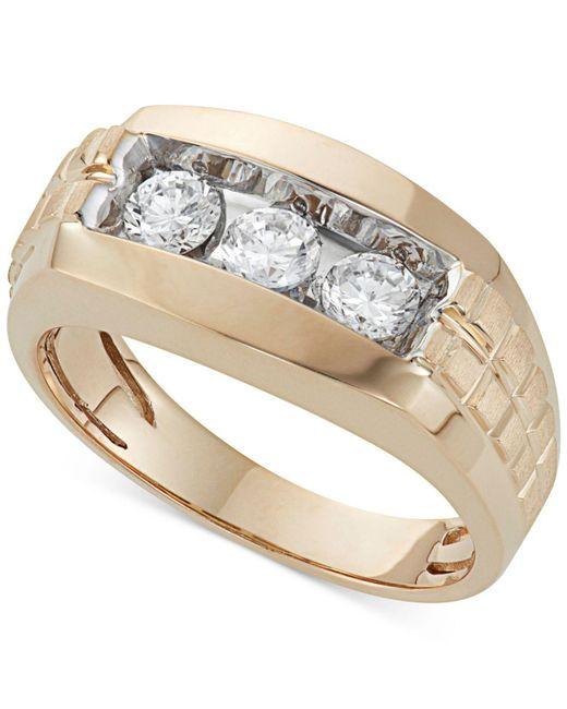 Macy's - Metallic Men's Diamond Trinity Ring (1 Ct. T.w.) In 10k Gold for Men - Lyst
