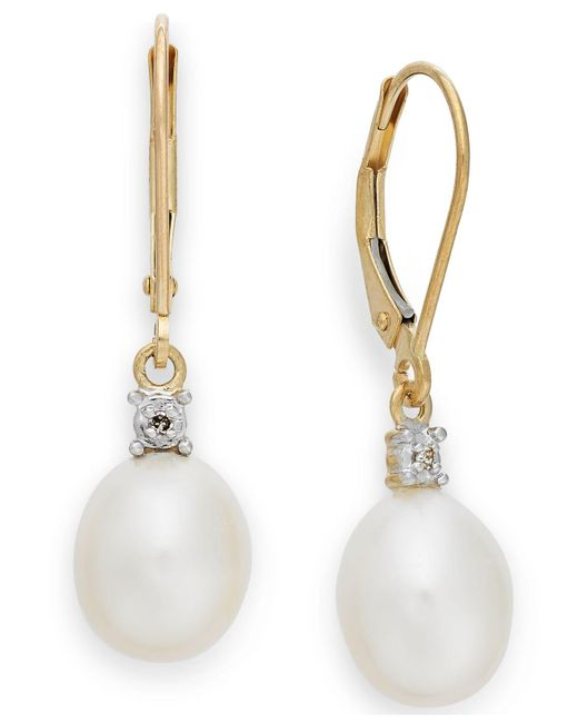 Macy's | Metallic Cultured Freshwater Pearl (8mm) And Diamond Accent Earrings In 14k Gold | Lyst