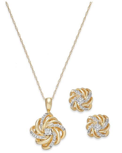 Macy's | Metallic Diamond Love Knot Jewelry Set In 10k Gold (1/10 Ct. T.w.) | Lyst