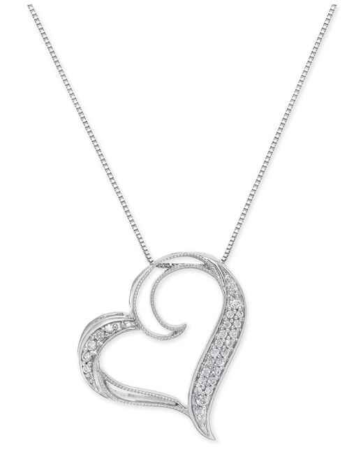 Macy's | Metallic Diamond Floating Heart Pendant Necklace (1/6 Ct. T.w.) In Sterling Silver | Lyst
