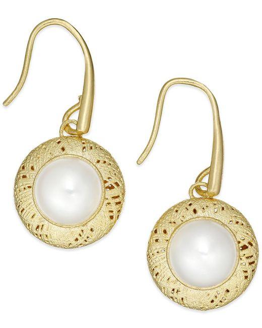 Macy's | Metallic Cultured Freshwater Pearl Drop Earrings In 18k Gold Over Sterling Silver (8mm) | Lyst