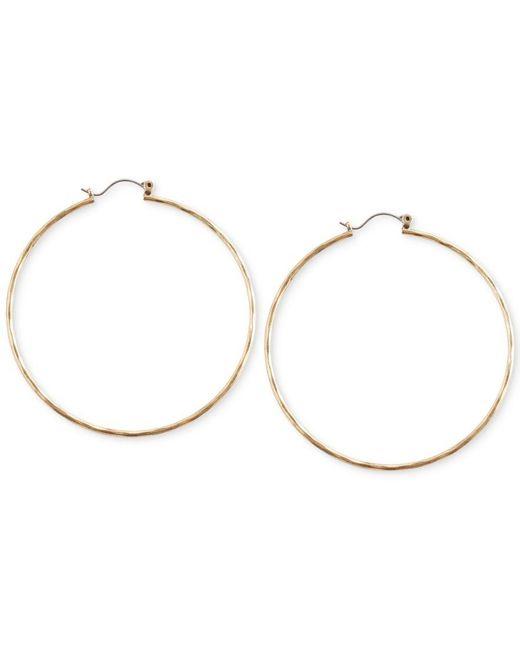 Lucky Brand | Metallic Big Hammered Hoop Earrings | Lyst