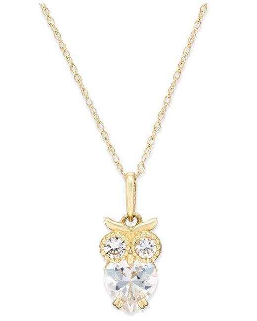 Macy's - Metallic Cubic Zirconia Owl Pendant Necklace In 10k Gold - Lyst