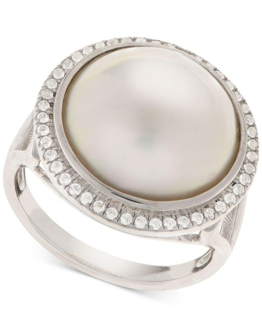 Macy's - Metallic Cultured Mabé Pearl (14mm) & White Topaz (1/8 Ct. T.w.) Ring In Sterling Silver - Lyst