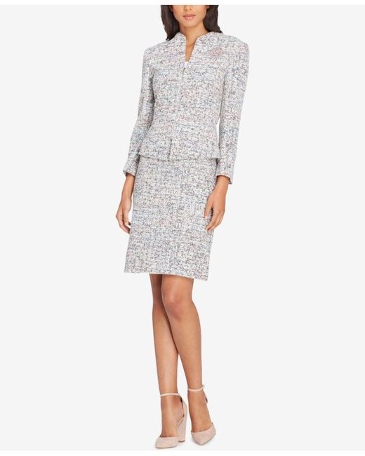 Tahari - Gray Embellished Tweed Bouclé Skirt Suit - Lyst