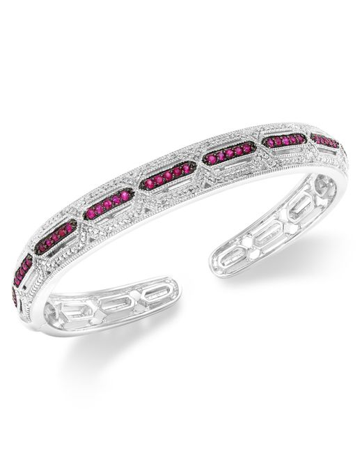 Macy's | Metallic Ruby (3/4 Ct. T.w.) And Diamond Accent Cuff Bracelet In Sterling Silver | Lyst