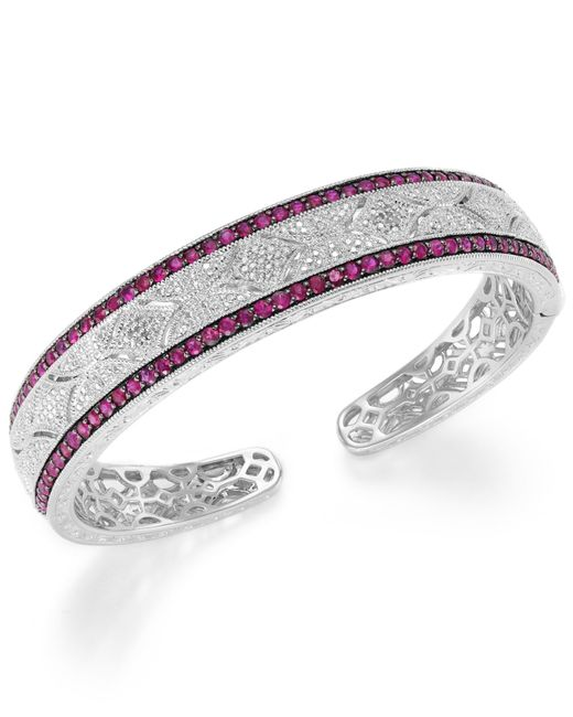 Macy's | Red Ruby (1-3/4 Ct. T.w.) And Diamond Accent Cuff Bracelet In Sterling Silver | Lyst