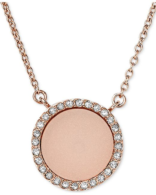 Michael Kors | Pink Rose Gold-tone Disc Pendant Necklace | Lyst