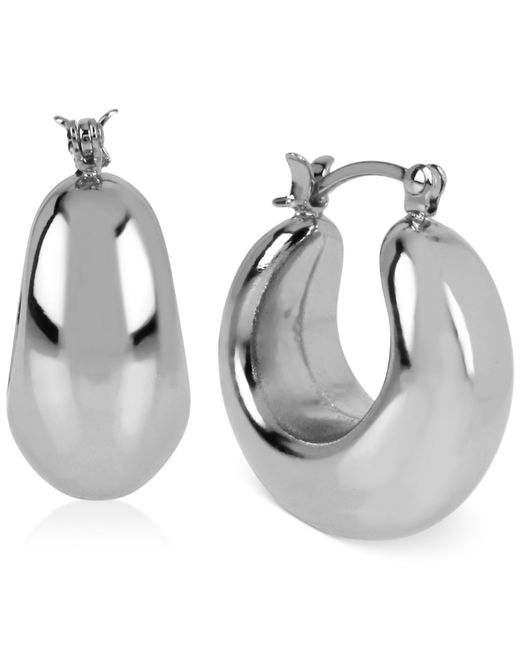 Touch Of Silver   Metallic Thick Hoop Earrings In Silver-plated Brass   Lyst