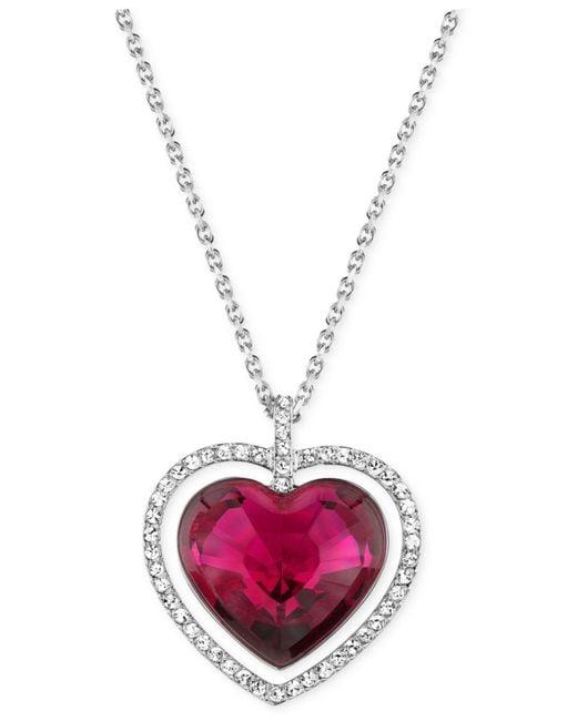 Swarovski | Purple Rhodium-plated Red Crystal Heart Pendant Necklace | Lyst