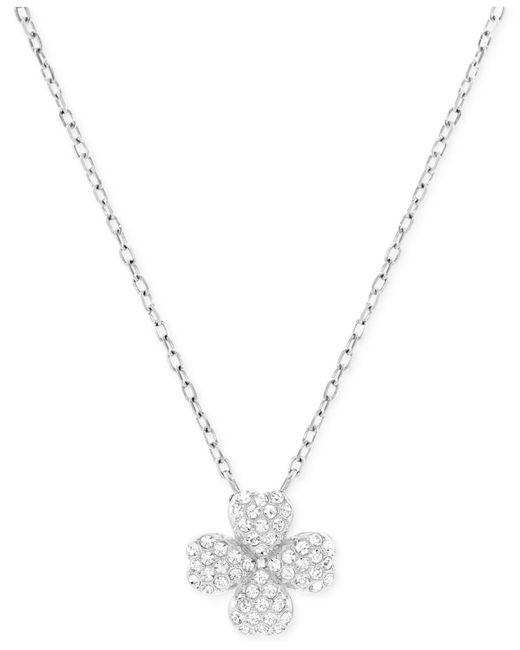 Swarovski | Metallic Rhodium-plated Crystal Pavé Four-leaf Clover Pendant Necklace | Lyst