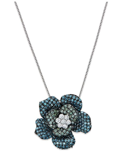 Macy's | Blue And Green Diamond Flower Pendant Necklace In 14k White Gold (1 Ct. T.w.) | Lyst