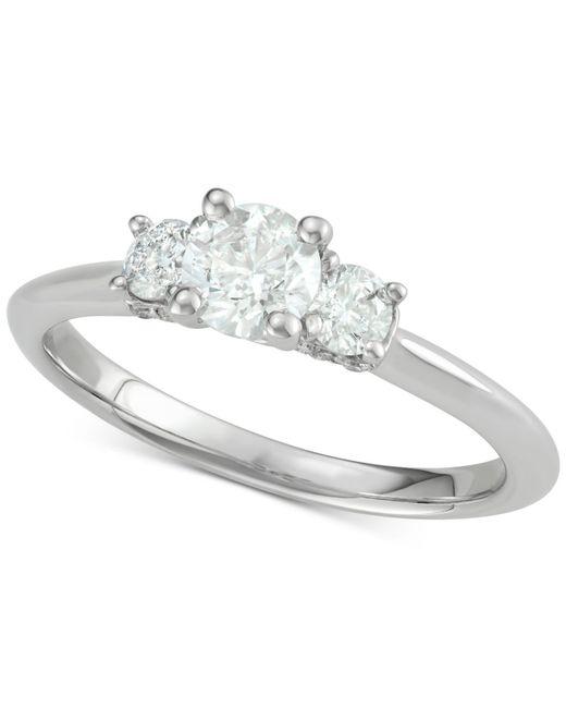 Macy's | Metallic Diamond Trinity Ring (1 Ct. T.w.) In 14k White Gold | Lyst