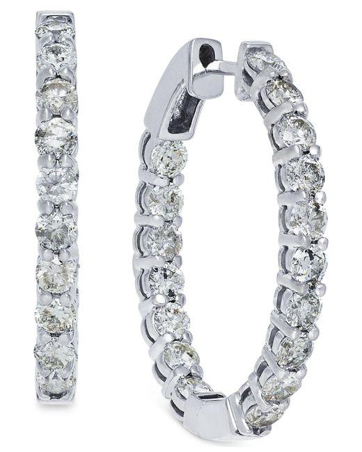 Macy's - Metallic Diamond Hoop Earrings In 10k White Gold (4 Ct. T.w.) - Lyst