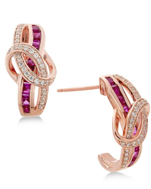 Macy's - Pink Certified Ruby (1-1/3 Ct. T.w.) And Diamond (1/4 Ct. T.w.) Drop Earrings In 14k Rose Gold - Lyst