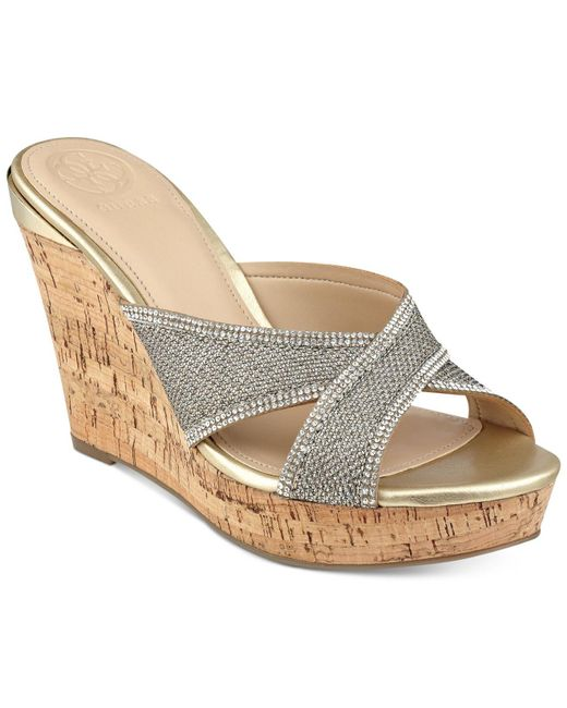 Guess - Metallic Eleonora Wedge Sandal - Lyst