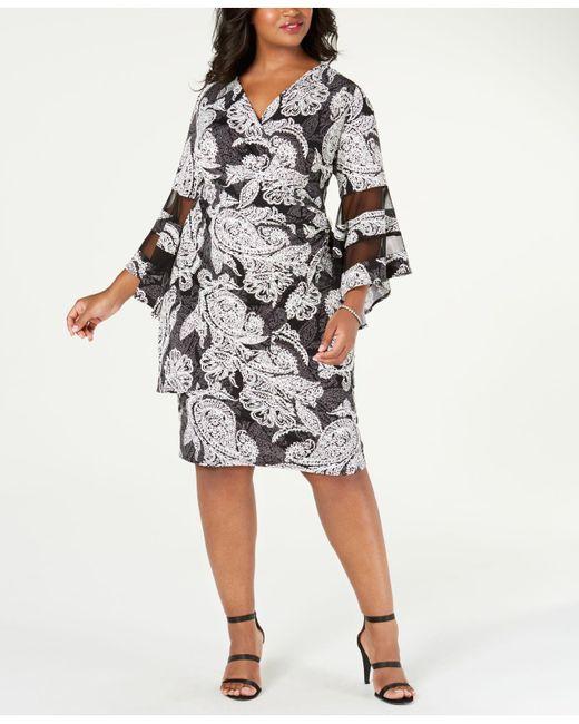 Women\'s Black Plus Size Illusion-detail Faux-wrap Dress