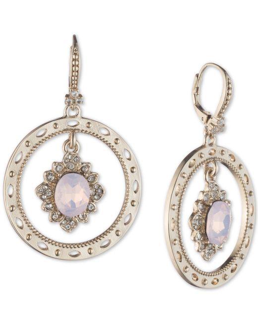 Marchesa - Metallic Gold-tone Stone & Crystal Orbital Drop Earrings - Lyst