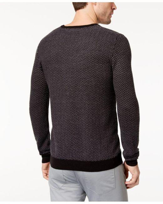 Lyst - Calvin klein Men's Fancy Chevron Sweater in Black for Men